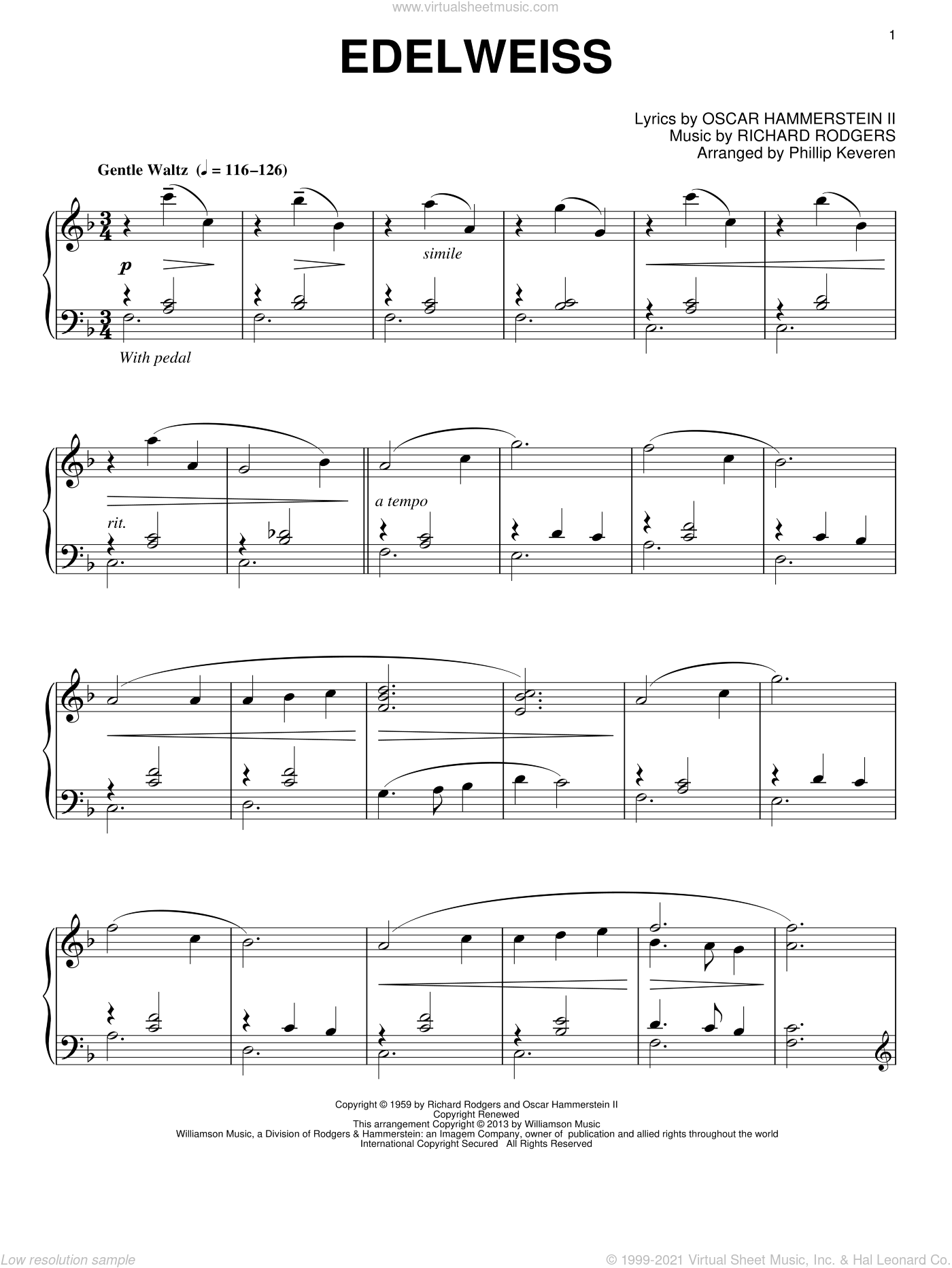 Edelweiss sheet music for piano solo by Phillip Keveren and Rodgers & Hammerstein, intermediate skill level