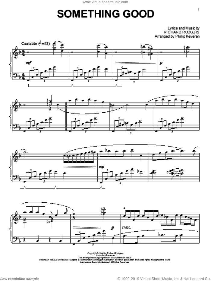 Something Good sheet music for piano solo by Phillip Keveren and Rodgers & Hammerstein, intermediate piano. Score Image Preview.
