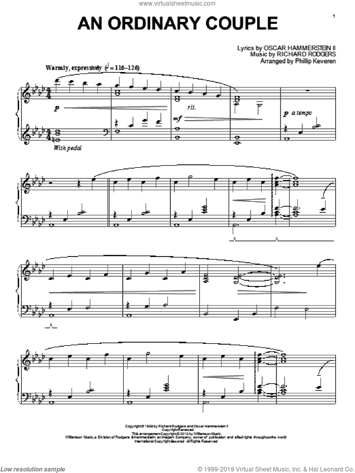 An Ordinary Couple sheet music for piano solo by Phillip Keveren and Rodgers & Hammerstein, intermediate. Score Image Preview.