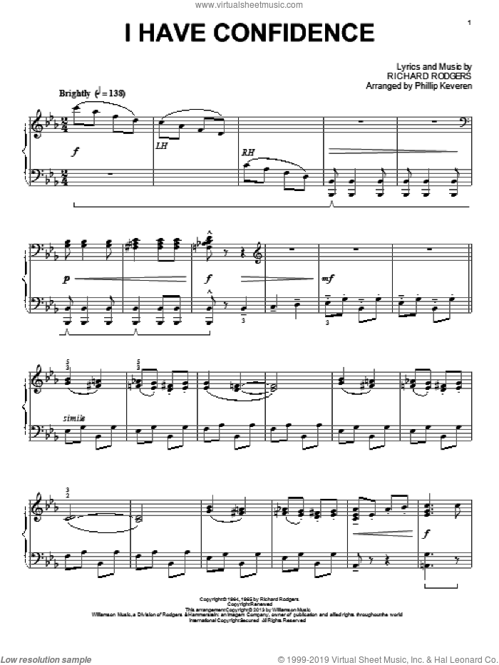 I Have Confidence sheet music for piano solo by Phillip Keveren and Rodgers & Hammerstein, intermediate piano. Score Image Preview.