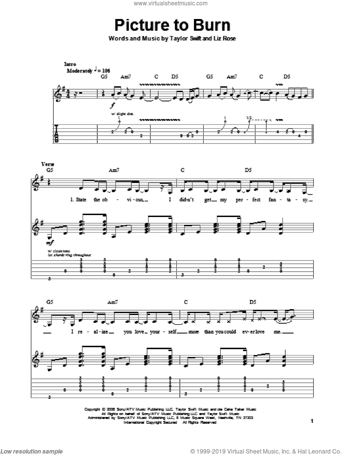Picture To Burn sheet music for guitar (tablature, play-along) by Taylor Swift. Score Image Preview.