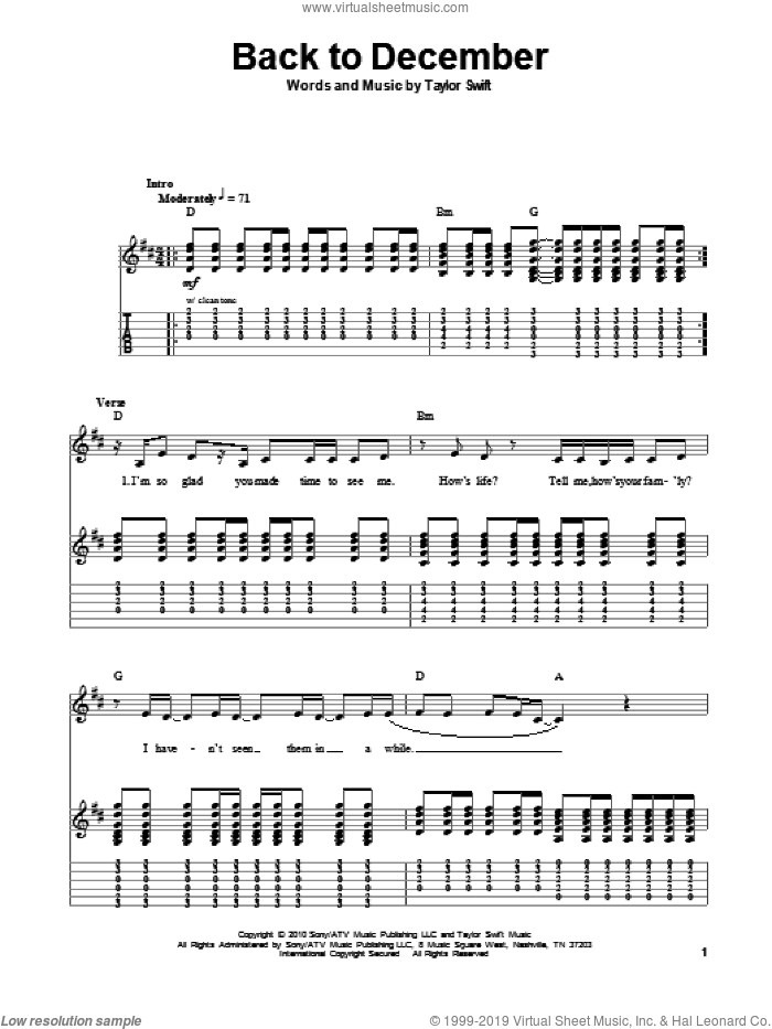 Back To December sheet music for guitar (tablature, play-along) by Taylor Swift, intermediate skill level