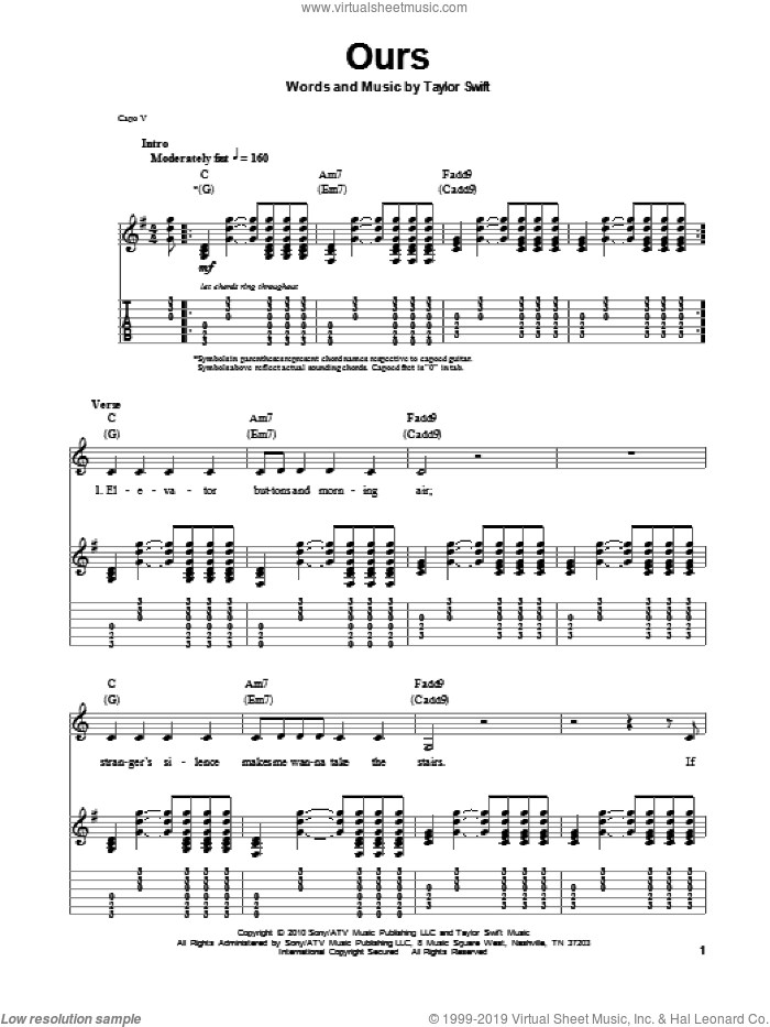 Ours sheet music for guitar (tablature, play-along) by Taylor Swift, intermediate skill level
