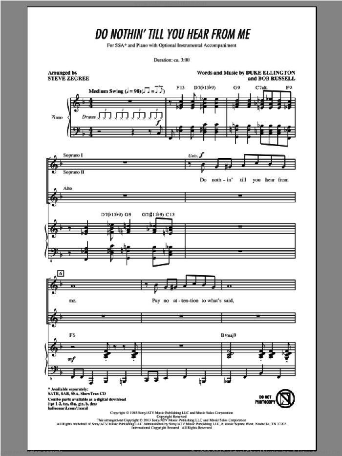 Do Nothin' Till You Hear From Me sheet music for choir (soprano voice, alto voice, choir) by Steve Zegree. Score Image Preview.