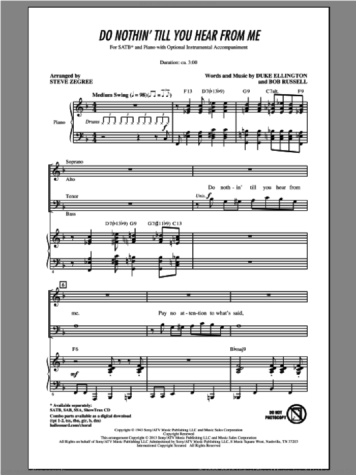 Do Nothin' Till You Hear From Me sheet music for choir (SATB) by Steve Zegree. Score Image Preview.