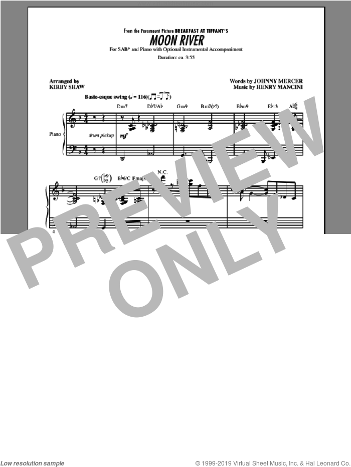 Moon River sheet music for choir (SAB) by Kirby Shaw and Henry Mancini. Score Image Preview.