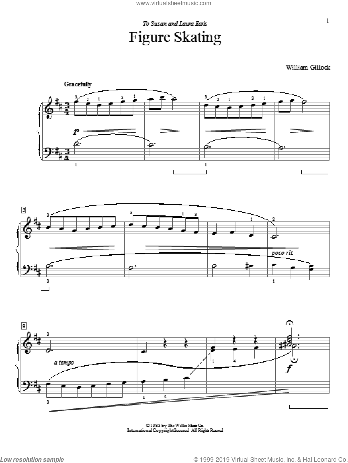 Figure Skating sheet music for piano solo (elementary) by William Gillock, classical score, beginner piano (elementary). Score Image Preview.