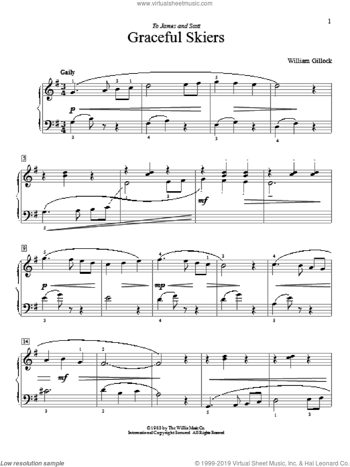 Graceful Skiers sheet music for piano solo (elementary) by William Gillock. Score Image Preview.