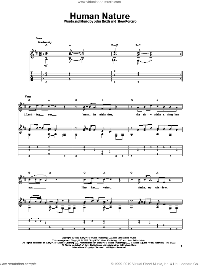 Human Nature sheet music for guitar solo by Michael Jackson. Score Image Preview.