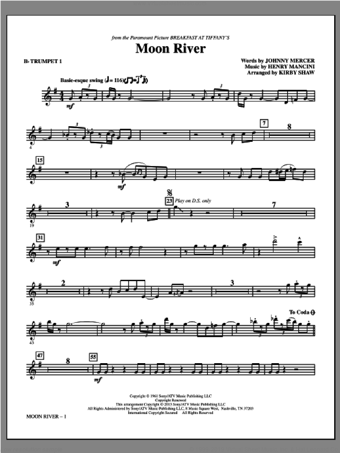 Moon River (complete set of parts) sheet music for orchestra/band by Kirby Shaw, Andy Williams and Henry Mancini, intermediate skill level