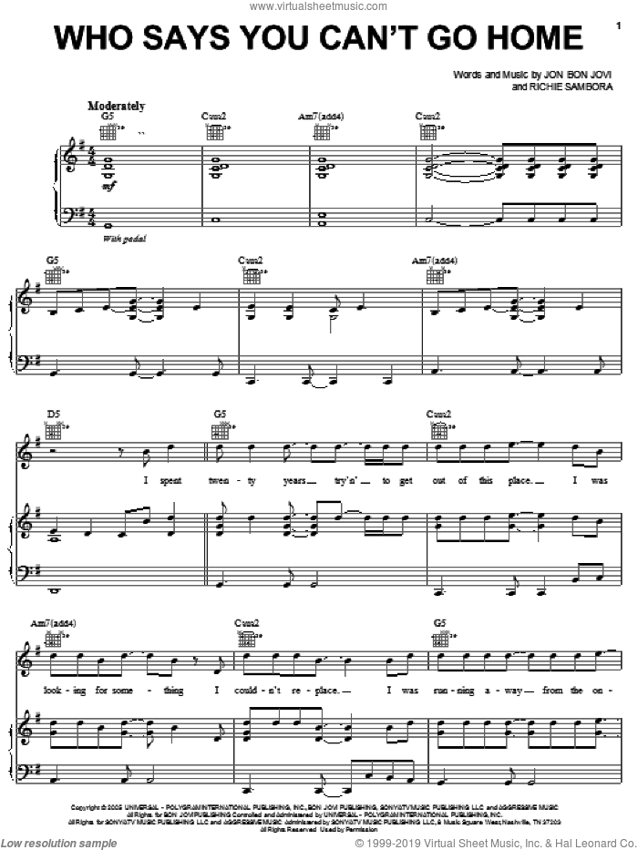 Who Says You Can't Go Home sheet music for voice, piano or guitar by Bon Jovi with Jennifer Nettles and Bon Jovi, intermediate. Score Image Preview.