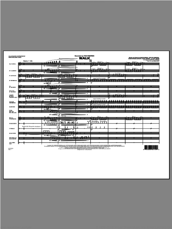 Walk (COMPLETE) sheet music for marching band by Michael Brown and Foo Fighters, intermediate skill level