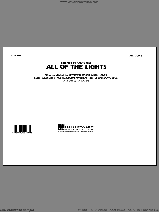 All Of The Lights (COMPLETE) sheet music for marching band by Kanye West and Tim Waters, intermediate. Score Image Preview.