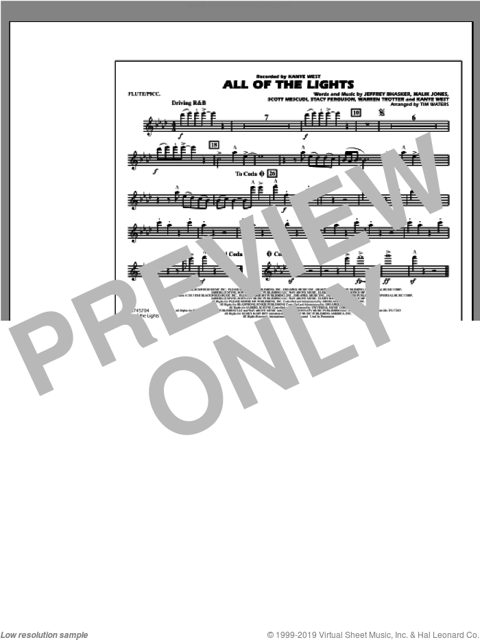 All Of The Lights sheet music for marching band (flute/piccolo) by Tim Waters