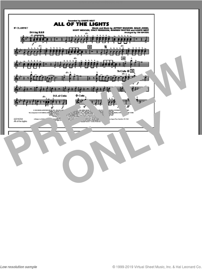 All Of The Lights sheet music for marching band (Bb clarinet) by Tim Waters