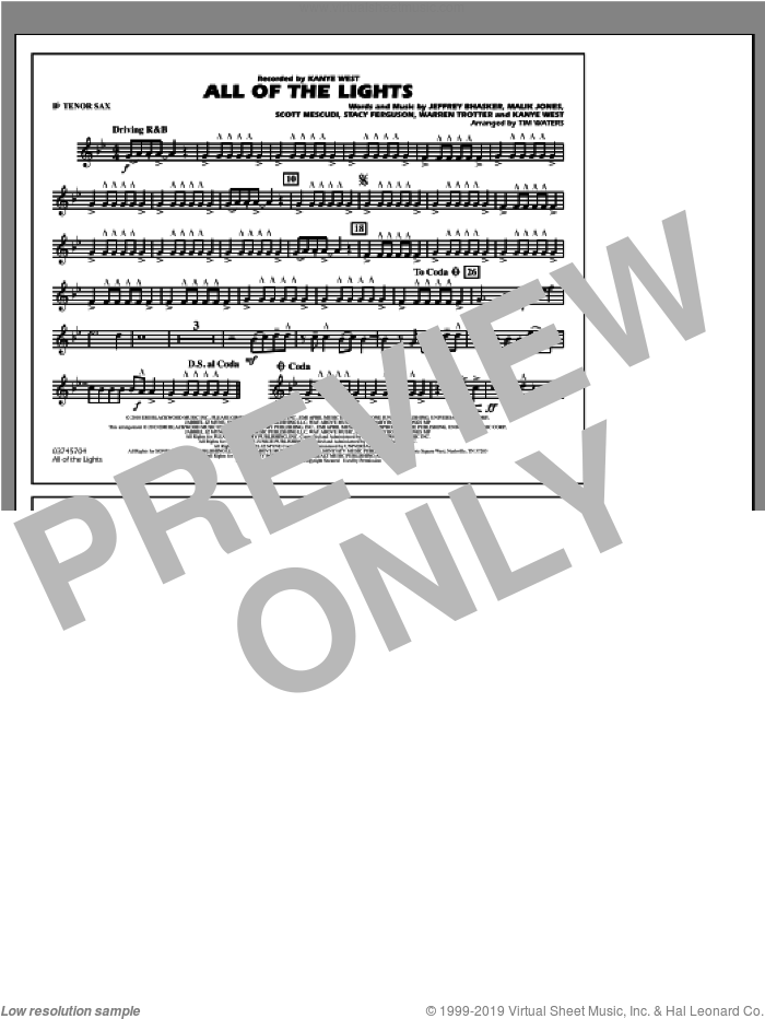 All Of The Lights sheet music for marching band (Bb tenor sax) by Tim Waters