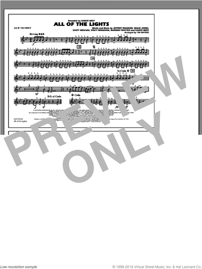 All Of The Lights sheet music for marching band (3rd Bb trumpet) by Tim Waters