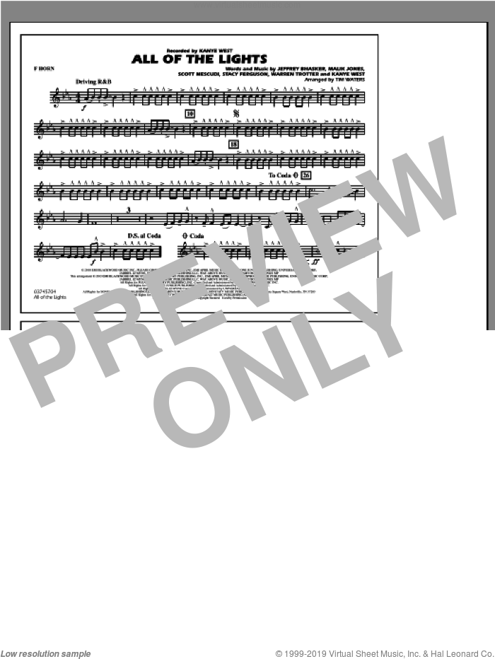 All Of The Lights sheet music for marching band (f horn) by Tim Waters