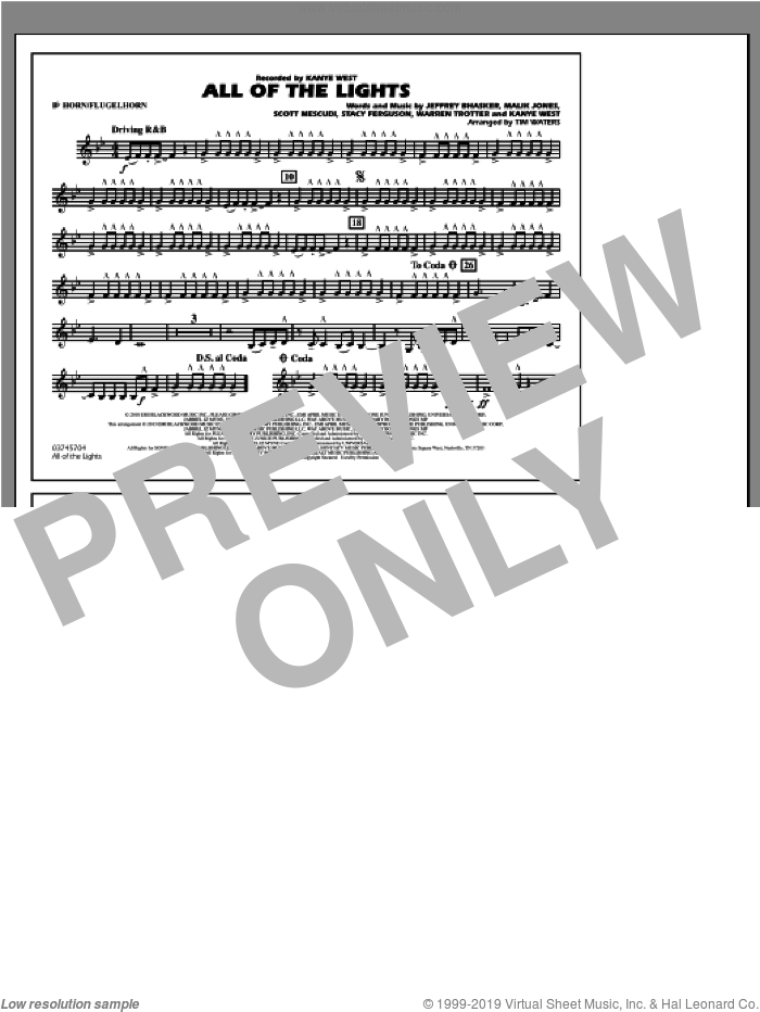 All Of The Lights sheet music for marching band (Bb horn/flugelhorn) by Tim Waters
