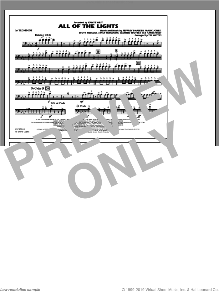 All Of The Lights sheet music for marching band (1st trombone) by Tim Waters