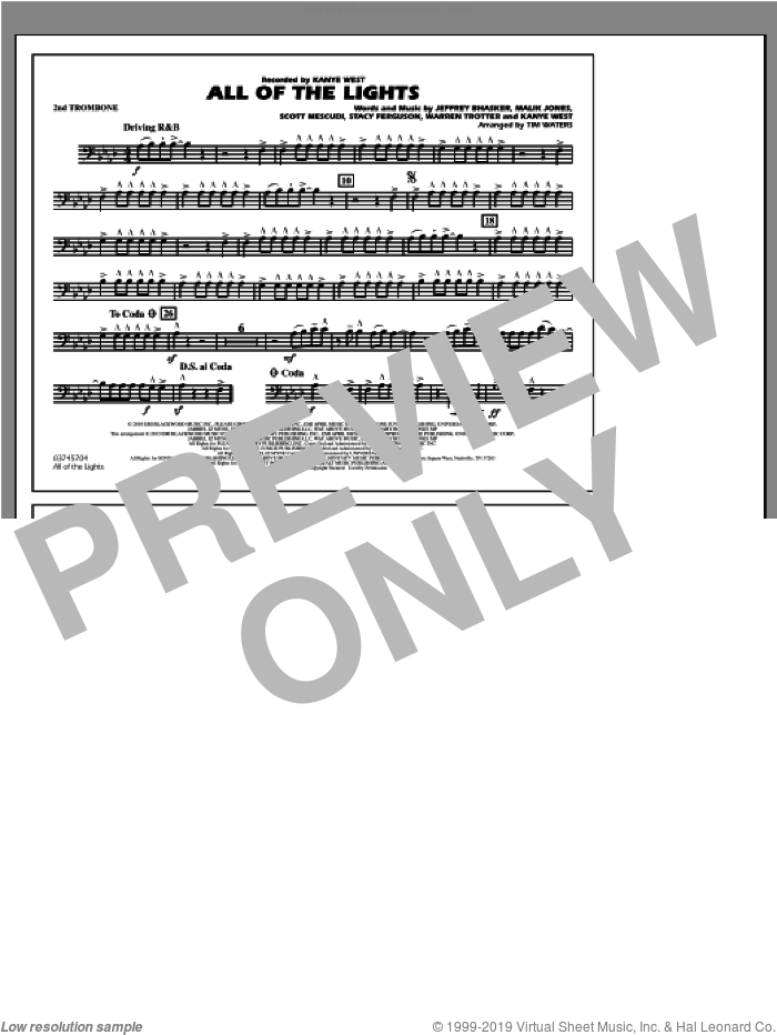 All Of The Lights sheet music for marching band (2nd trombone) by Tim Waters