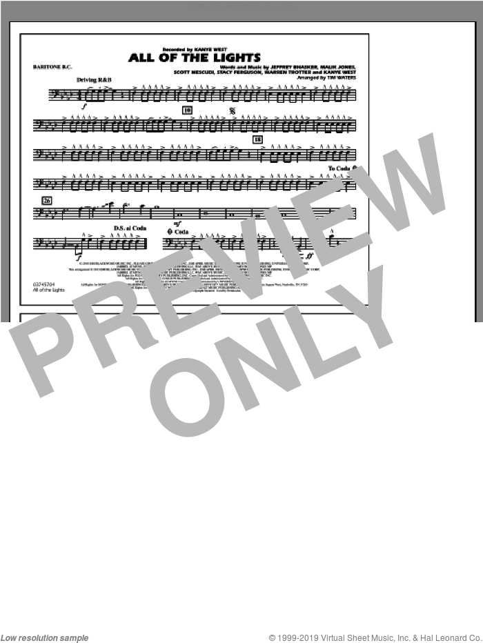 All Of The Lights sheet music for marching band (baritone b.c.) by Tim Waters