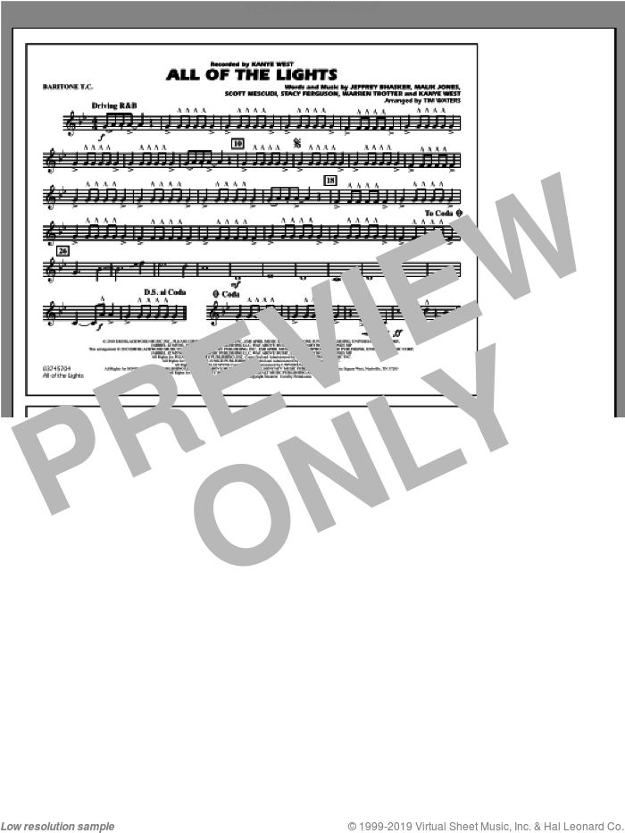 All Of The Lights sheet music for marching band (baritone t.c.) by Tim Waters