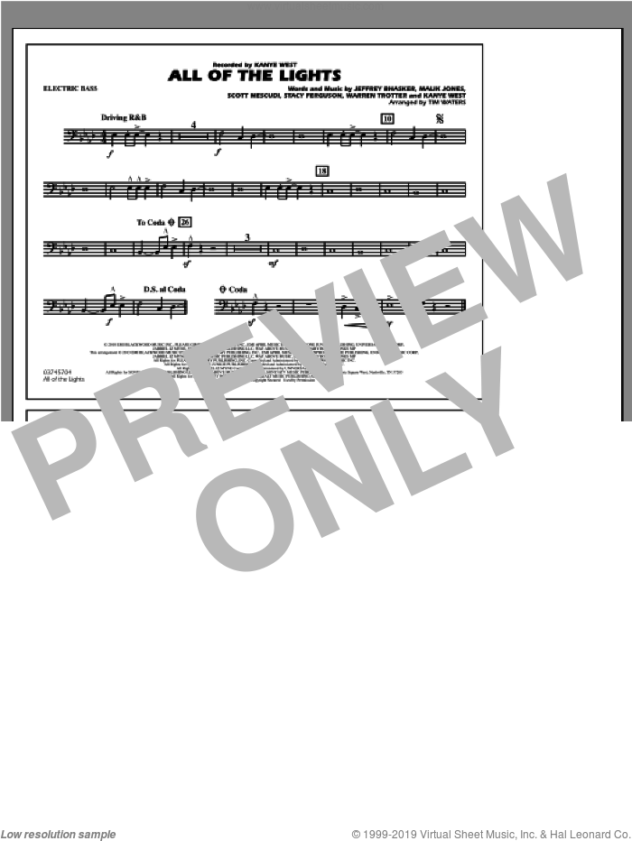 All Of The Lights sheet music for marching band (electric bass) by Tim Waters