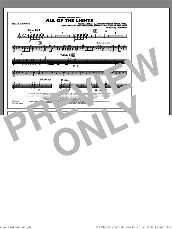 All Of The Lights sheet music for marching band (bells/xylophone) by Tim Waters