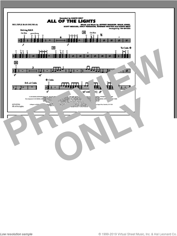 All Of The Lights sheet music for marching band (multiple bass drums) by Tim Waters