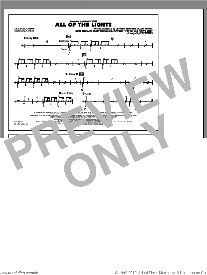 All Of The Lights sheet music for marching band (aux percussion) by Tim Waters