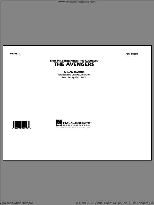The Avengers (COMPLETE) sheet music for marching band by Alan Silvestri