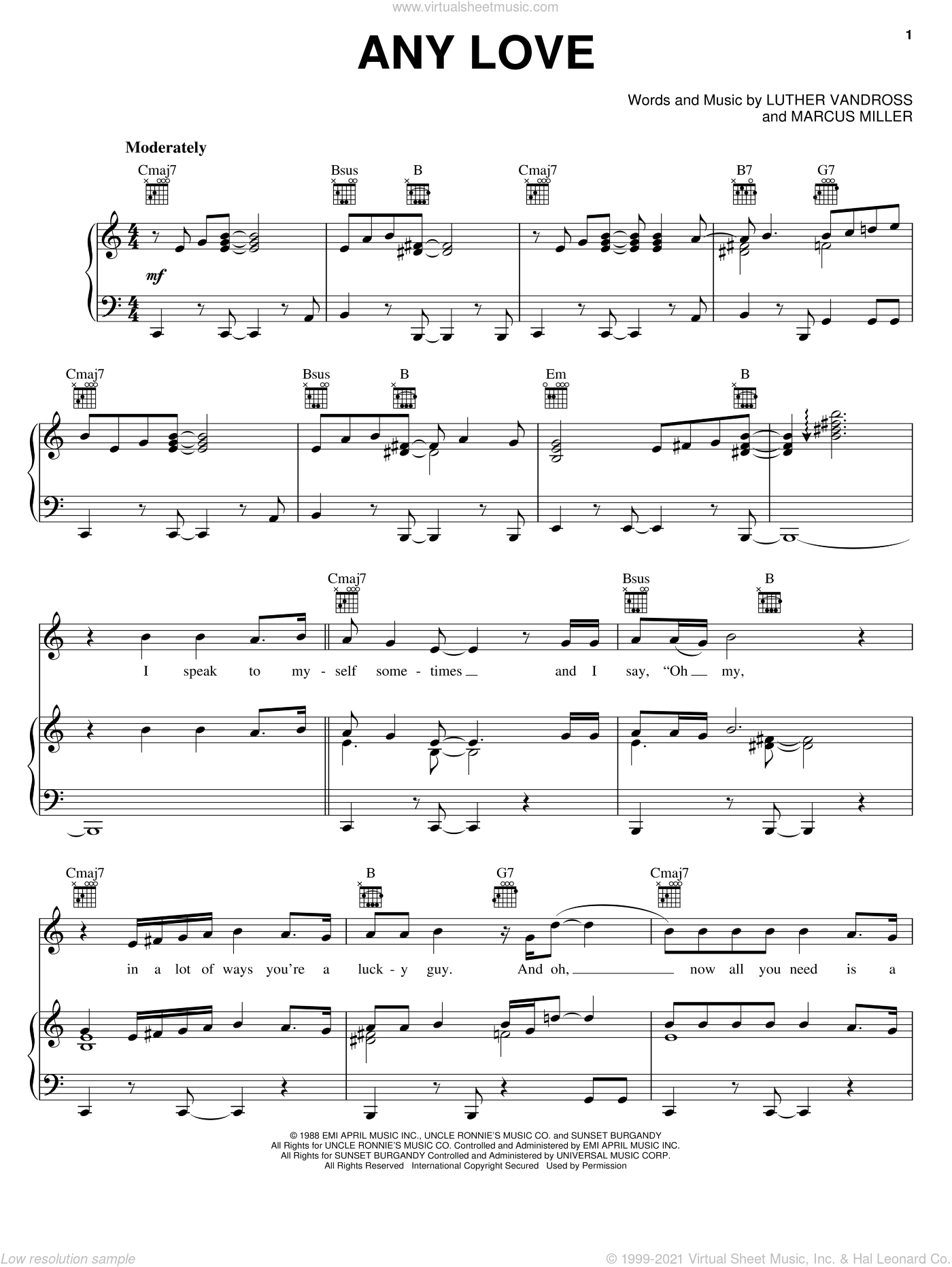 Any Love sheet music for voice, piano or guitar by Marcus Miller and Luther Vandross. Score Image Preview.