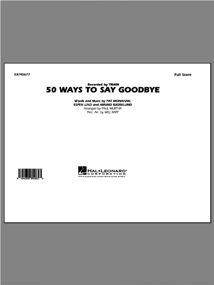 50 Ways To Say Goodbye (COMPLETE) sheet music for marching band by Paul Murtha and Train, intermediate skill level