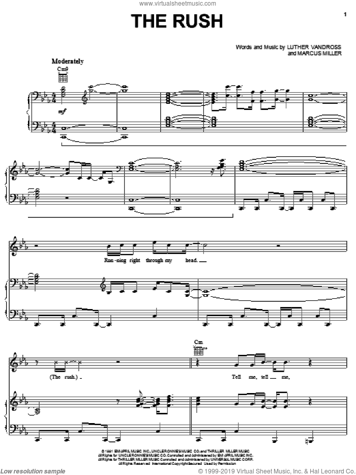 The Rush sheet music for voice, piano or guitar by Marcus Miller and Luther Vandross. Score Image Preview.