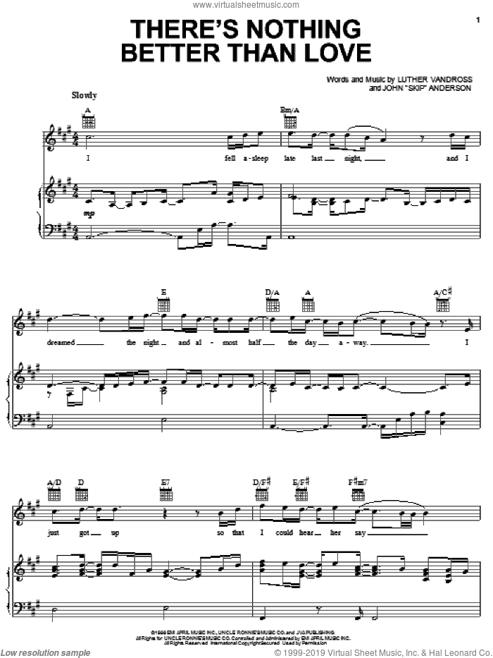 There's Nothing Better Than Love sheet music for voice, piano or guitar by Luther Vandross and John 'Skip' Anderson, intermediate skill level