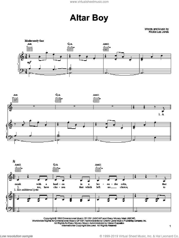 Altar Boy sheet music for voice, piano or guitar by Rickie Lee Jones, intermediate. Score Image Preview.
