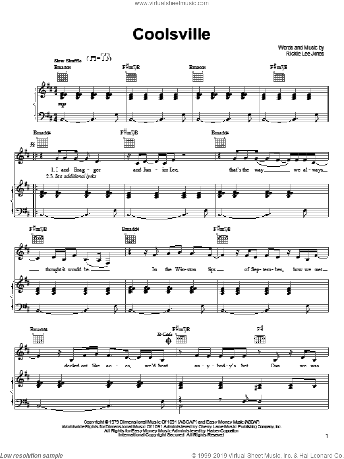 Coolsville sheet music for voice, piano or guitar by Rickie Lee Jones, intermediate voice, piano or guitar. Score Image Preview.