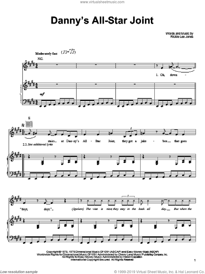 Danny's All-Star Joint sheet music for voice, piano or guitar by Rickie Lee Jones, intermediate skill level