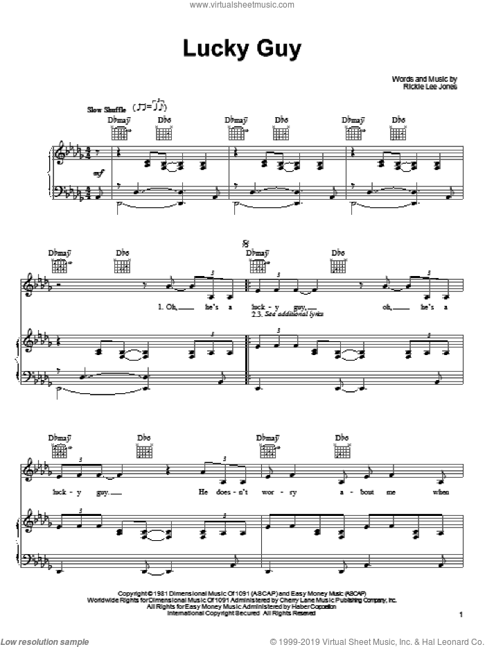 Lucky Guy sheet music for voice, piano or guitar by Rickie Lee Jones, intermediate. Score Image Preview.