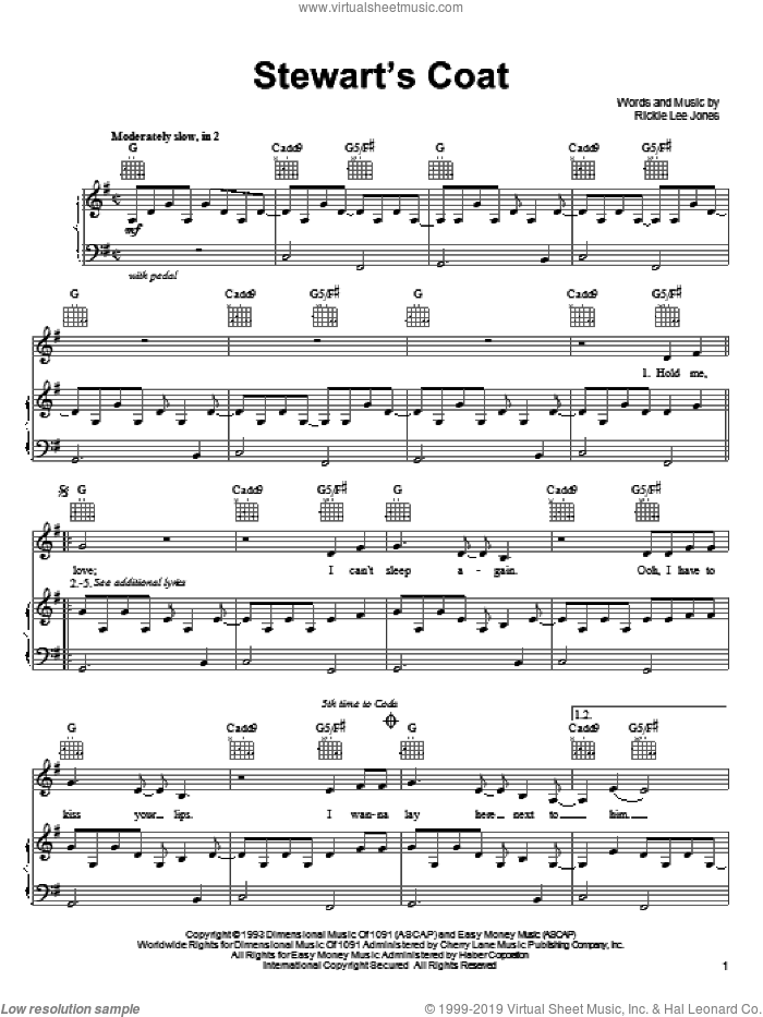 Stewart's Coat sheet music for voice, piano or guitar by Rickie Lee Jones. Score Image Preview.