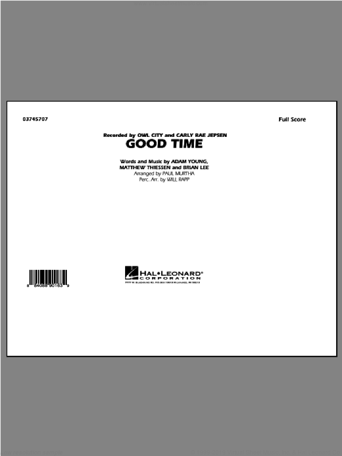 Good Time (COMPLETE) sheet music for marching band by Paul Murtha and Owl City, intermediate skill level
