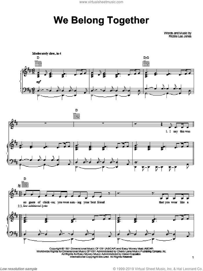 We Belong Together sheet music for voice, piano or guitar by Rickie Lee Jones. Score Image Preview.