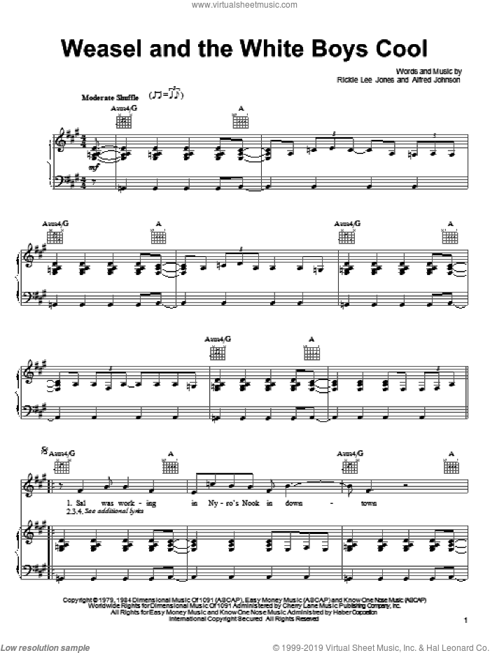 Weasel And The White Boys Cool sheet music for voice, piano or guitar by Rickie Lee Jones and Alfred Johnson, intermediate skill level