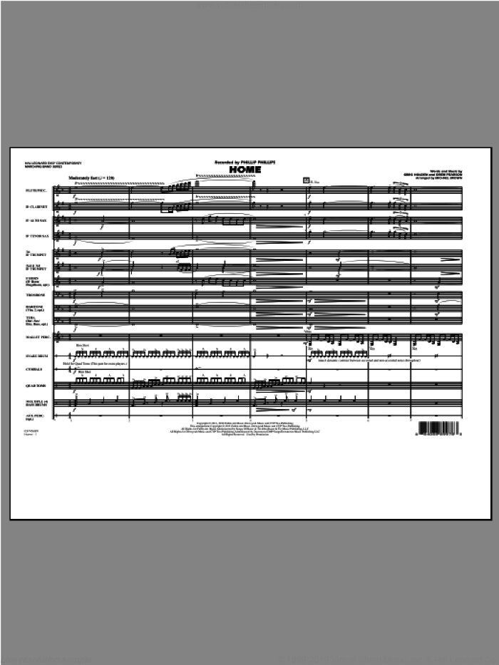 Home (COMPLETE) sheet music for marching band by Michael Brown and Phillip Phillips, intermediate. Score Image Preview.