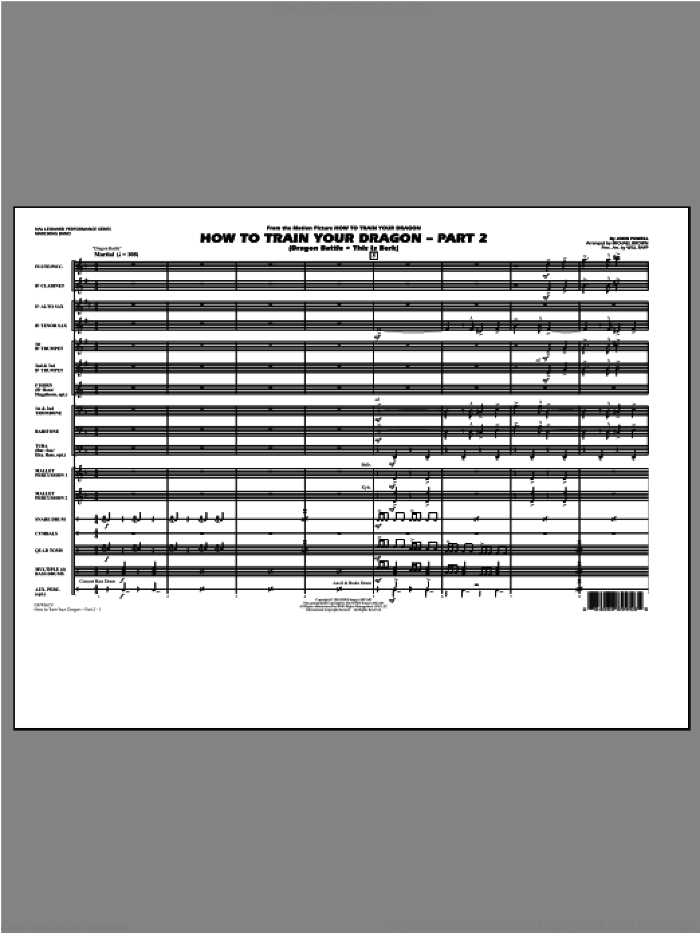How To Train Your Dragon Part 2 (COMPLETE) sheet music for marching band by John Powell and Michael Brown, intermediate. Score Image Preview.