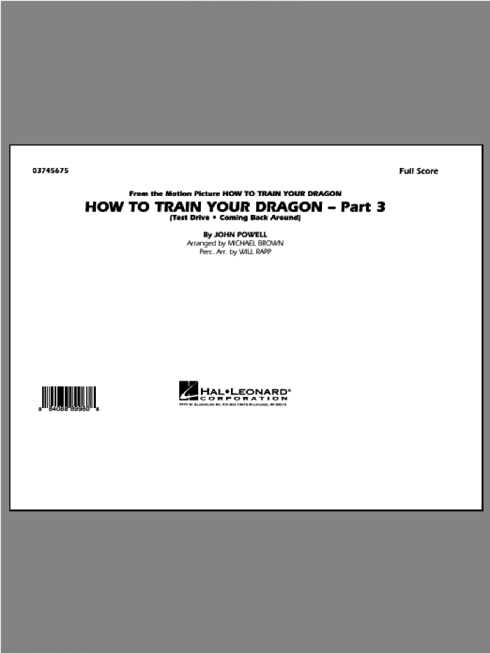 How To Train Your Dragon Part 3 (COMPLETE) sheet music for marching band by John Powell and Michael Brown, intermediate marching band. Score Image Preview.