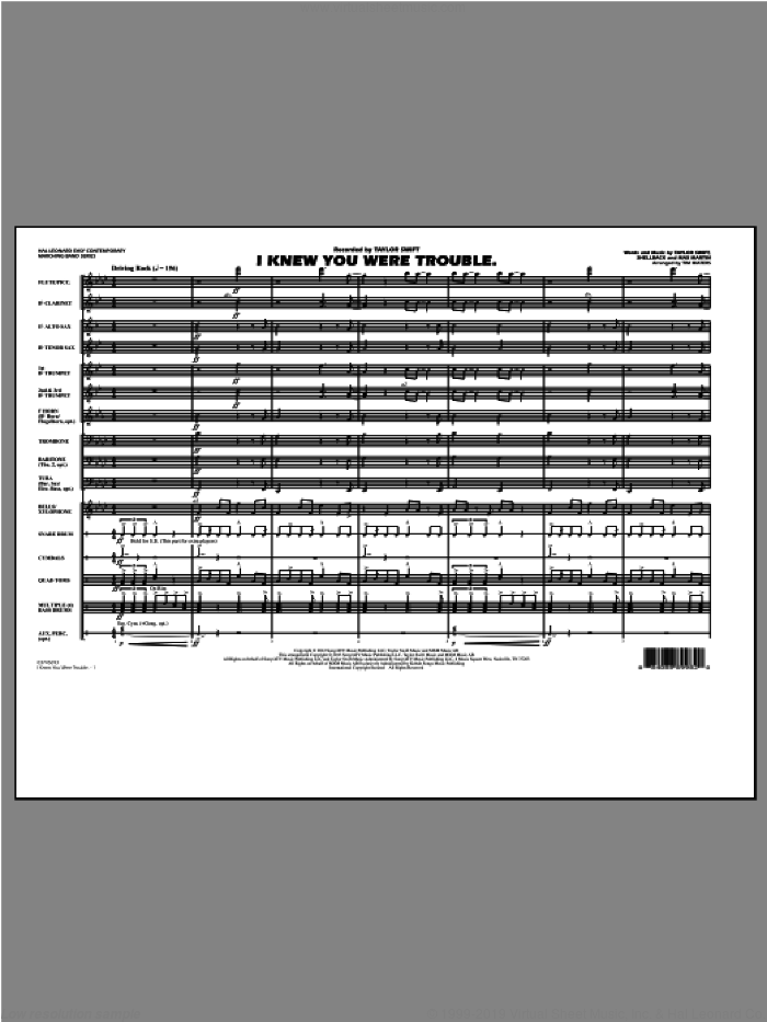 I Knew You Were Trouble sheet music for marching band (full score) by Tim Waters