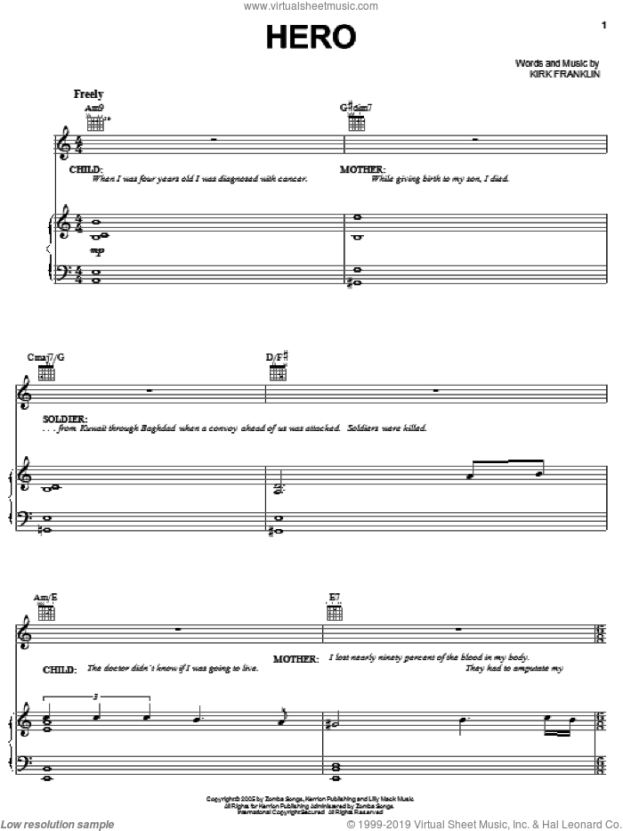 Hero sheet music for voice, piano or guitar by Kirk Franklin. Score Image Preview.