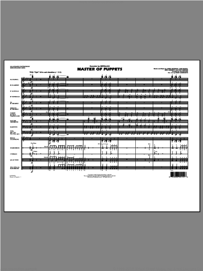 Master of Puppets (COMPLETE) sheet music for marching band by Metallica and Jay Bocook, intermediate. Score Image Preview.